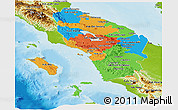 Political Panoramic Map of North Sumatera, physical outside