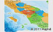 Political Panoramic Map of North Sumatera, political shades outside