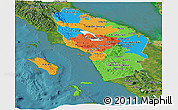 Political Panoramic Map of North Sumatera, satellite outside