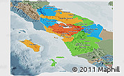 Political Panoramic Map of North Sumatera, semi-desaturated