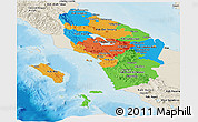 Political Panoramic Map of North Sumatera, shaded relief outside