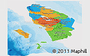 Political Panoramic Map of North Sumatera, single color outside