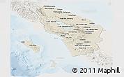 Shaded Relief Panoramic Map of North Sumatera, lighten