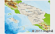 Shaded Relief Panoramic Map of North Sumatera, physical outside
