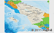 Shaded Relief Panoramic Map of North Sumatera, political outside