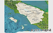 Shaded Relief Panoramic Map of North Sumatera, satellite outside