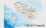 Shaded Relief Panoramic Map of North Sumatera, single color outside