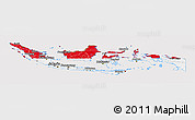 Flag Panoramic Map of Indonesia, flag centered