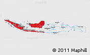 Flag Panoramic Map of Indonesia, flag aligned to the middle