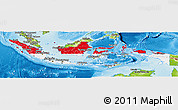 Flag Panoramic Map of Indonesia, physical outside