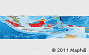 Flag Panoramic Map of Indonesia, political outside