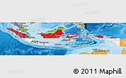 Flag Panoramic Map of Indonesia, political shades outside