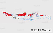 Flag Panoramic Map of Indonesia