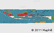 Flag Panoramic Map of Indonesia, satellite outside