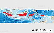 Flag Panoramic Map of Indonesia, shaded relief outside