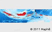 Flag Panoramic Map of Indonesia, single color outside, bathymetry sea