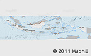 Gray Panoramic Map of Indonesia, single color outside