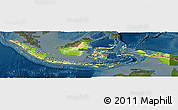 Physical Panoramic Map of Indonesia, darken