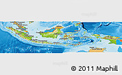 Physical Panoramic Map of Indonesia, political outside, shaded relief sea