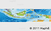 Physical Panoramic Map of Indonesia, political shades outside, shaded relief sea