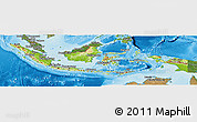 Physical Panoramic Map of Indonesia, satellite outside, shaded relief sea