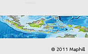 Physical Panoramic Map of Indonesia, semi-desaturated, land only