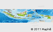 Physical Panoramic Map of Indonesia, shaded relief outside