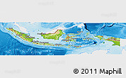 Physical Panoramic Map of Indonesia, single color outside
