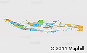 Political Panoramic Map of Indonesia, cropped outside