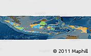 Political Panoramic Map of Indonesia, darken