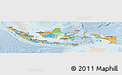 Political Panoramic Map of Indonesia, lighten