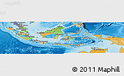 Political Panoramic Map of Indonesia, political shades outside