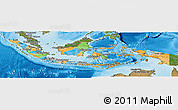 Political Panoramic Map of Indonesia, satellite outside, bathymetry sea