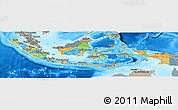 Political Panoramic Map of Indonesia, semi-desaturated, land only