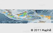 Political Panoramic Map of Indonesia, semi-desaturated