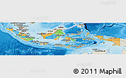 Political Panoramic Map of Indonesia, shaded relief outside, bathymetry sea