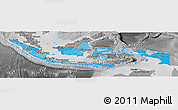Political Shades Panoramic Map of Indonesia, desaturated