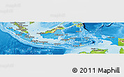 Political Shades Panoramic Map of Indonesia, physical outside