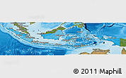 Political Shades Panoramic Map of Indonesia, satellite outside, bathymetry sea