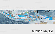 Political Shades Panoramic Map of Indonesia, semi-desaturated