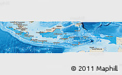 Political Shades Panoramic Map of Indonesia, shaded relief outside, bathymetry sea
