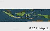 Satellite Panoramic Map of Indonesia, darken