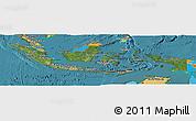 Satellite Panoramic Map of Indonesia, political outside, satellite sea
