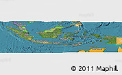 Satellite Panoramic Map of Indonesia, political shades outside, satellite sea