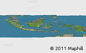 Satellite Panoramic Map of Indonesia, semi-desaturated, land only