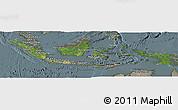Satellite Panoramic Map of Indonesia, semi-desaturated