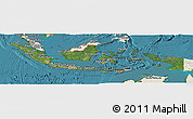 Satellite Panoramic Map of Indonesia, shaded relief outside, satellite sea
