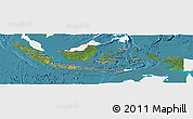 Satellite Panoramic Map of Indonesia, single color outside