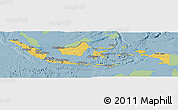 Savanna Style Panoramic Map of Indonesia, single color outside