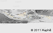 Shaded Relief Panoramic Map of Indonesia, desaturated